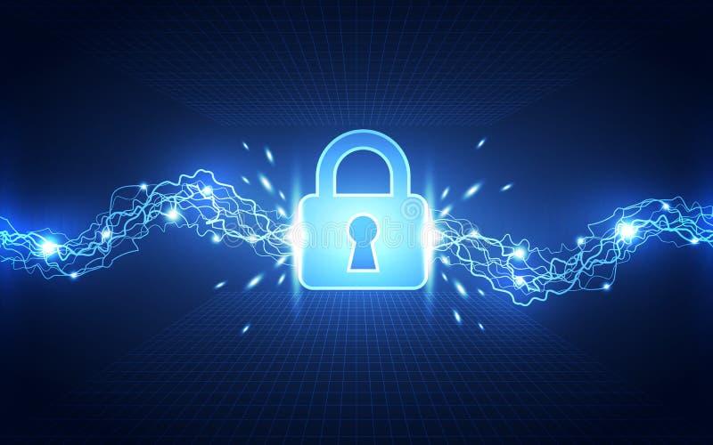 Abstrakte Technologiesicherheit auf Hintergrund des globalen Netzwerks, Vektorillustration lizenzfreie abbildung