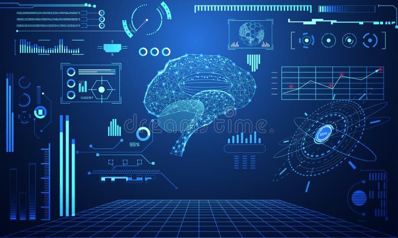 Abstrakte Technologiewissenschaftskonzept Gehirn-Datengesundheit digital: vektor abbildung
