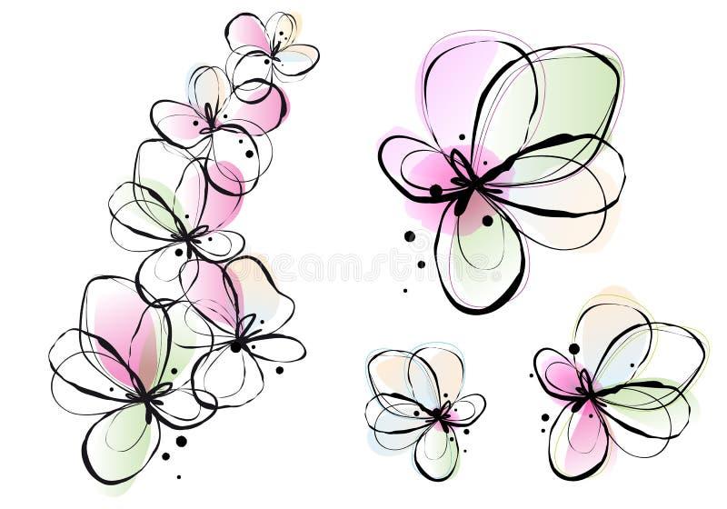Abstrakte Aquarellblumen, Vektor lizenzfreie abbildung