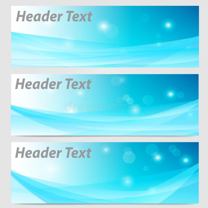 Abstrakte Titelfahnenwelle in der blauen und weißen Farbe geometrisch vektor abbildung