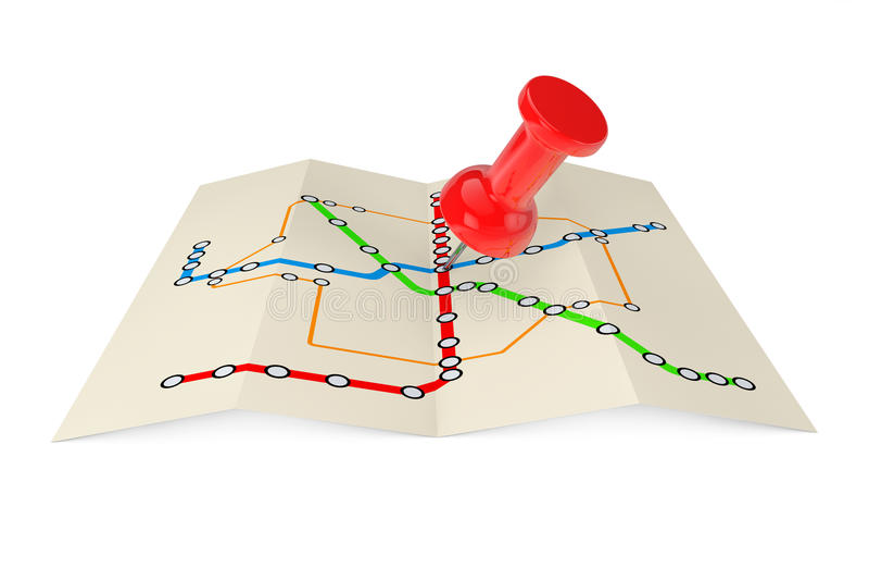 Abstrakte Transport-Metro oder U-Bahn-Plan mit rotem Stoß Pin 3 vektor abbildung