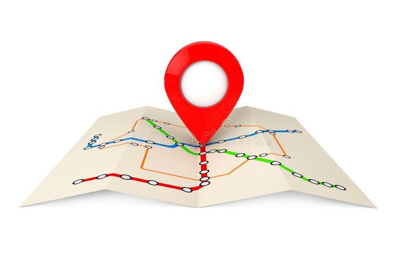 Abstrakte Transport-Metro oder U-Bahn-Plan mit rotem Ziel Pin lizenzfreie abbildung