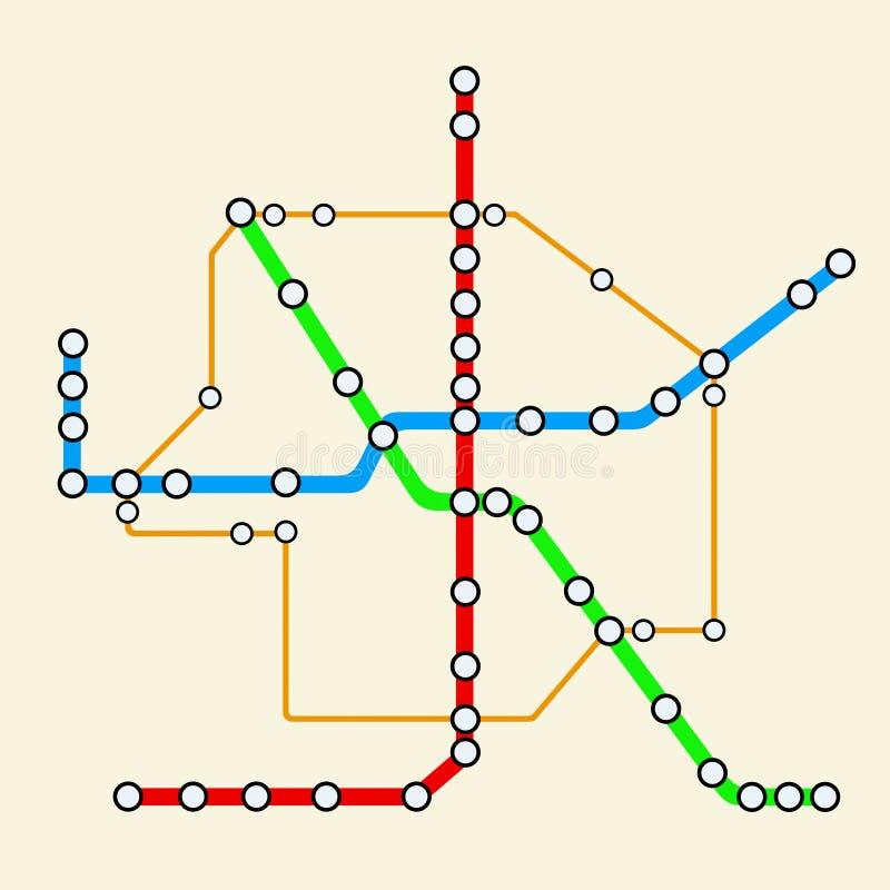 Abstrakte Transport-Metro oder U-Bahn-Plan Wiedergabe 3d stock abbildung