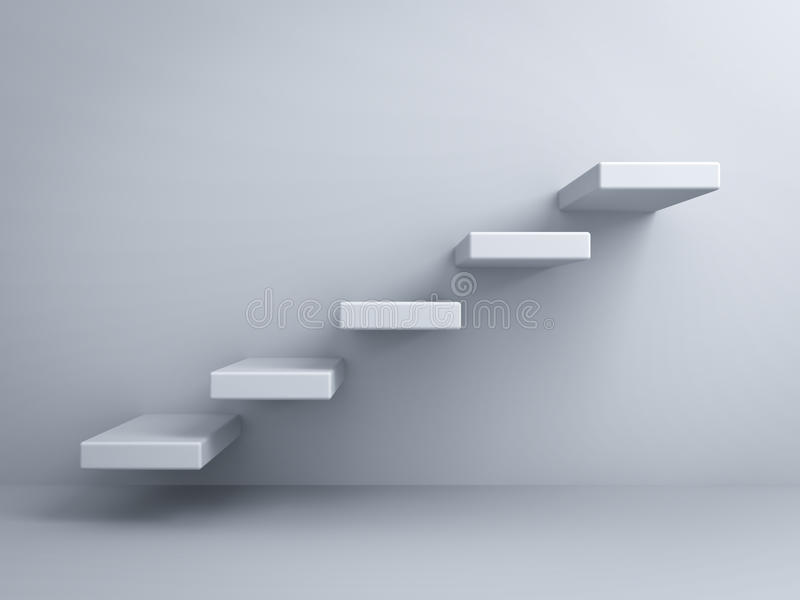 Abstrakte Treppe oder Schrittkonzept auf weißer Wand lizenzfreie abbildung