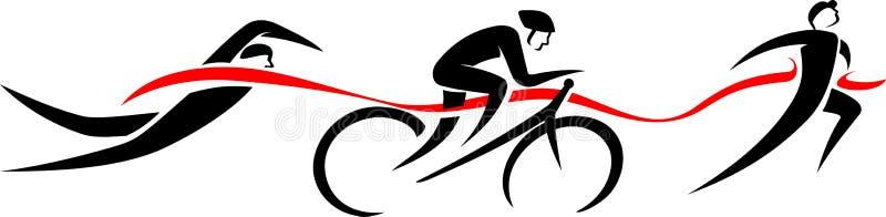 Abstrakte Triathlon-Ereignisse lizenzfreie abbildung
