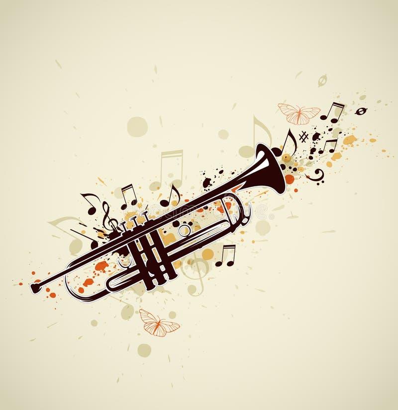 Abstrakte Trompete und Anmerkungen lizenzfreie abbildung