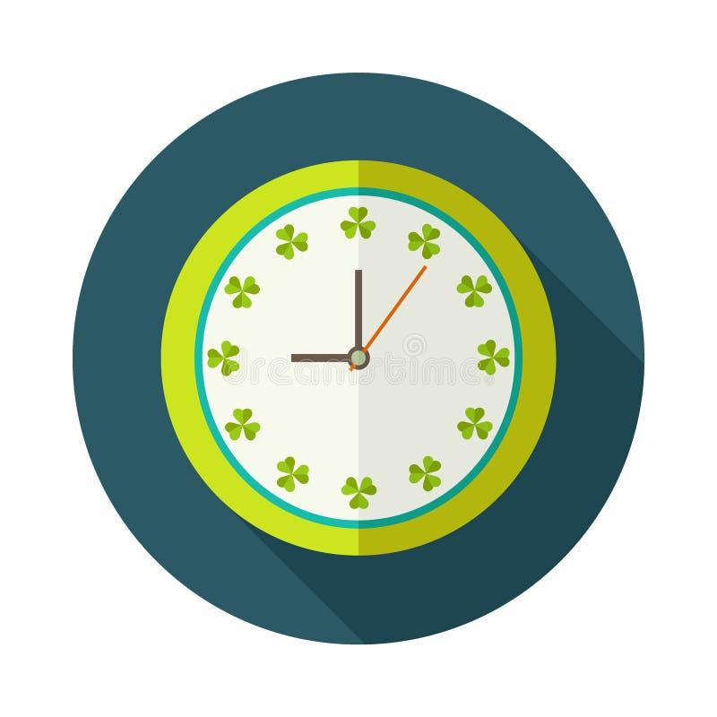 Abstrakte Uhr mit Shamrocks und langem Schatten lizenzfreie abbildung