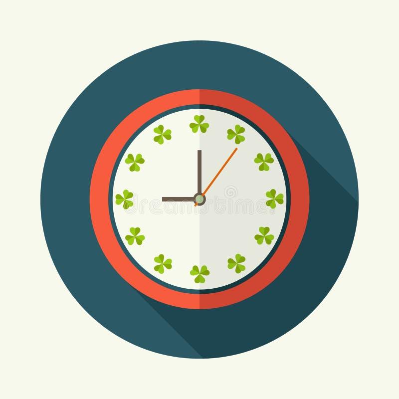 Abstrakte Uhr mit Shamrocks und langem Schatten stock abbildung
