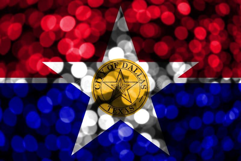 Abstrakte undeutliche bokeh Dallas, Illinois Flagge Weihnachts-, des neuen Jahres und des Nationaltagskonzeptflagge Staaten von A lizenzfreie abbildung