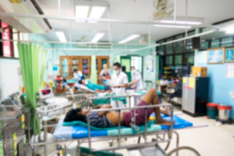 Abstrakte Unschärfe am Krankenhaus, Doktor und Krankenschwester bearbeiten das Krankenhaus stockfoto