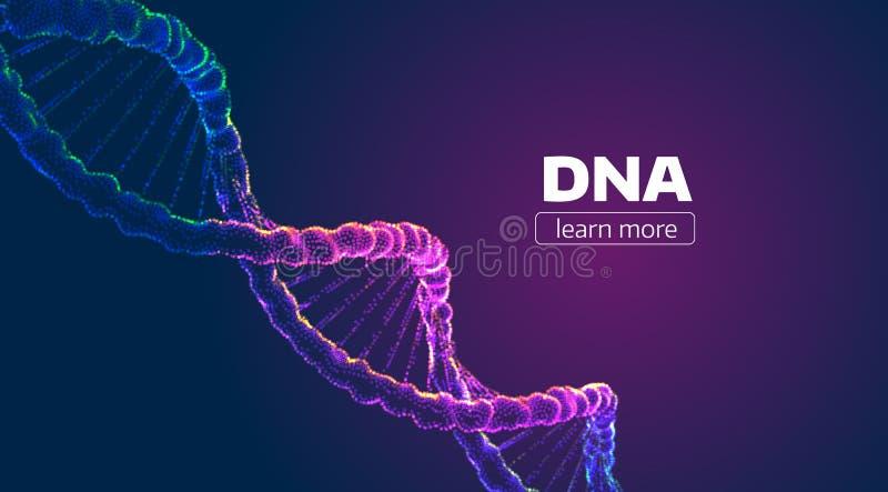 Abstrakte Vektor DNA-Struktur Heilkundehintergrund lizenzfreie abbildung