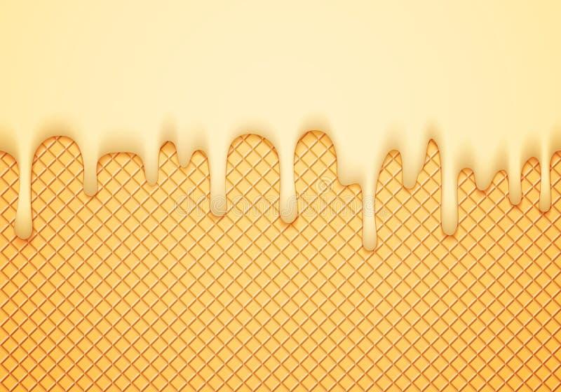 Abstrakte Vektor-Fahne mit Eiscreme-Grenze und Oblate Köstlicher Lebensmittel-Hintergrund Süße Glasur-nahtloses Muster stock abbildung