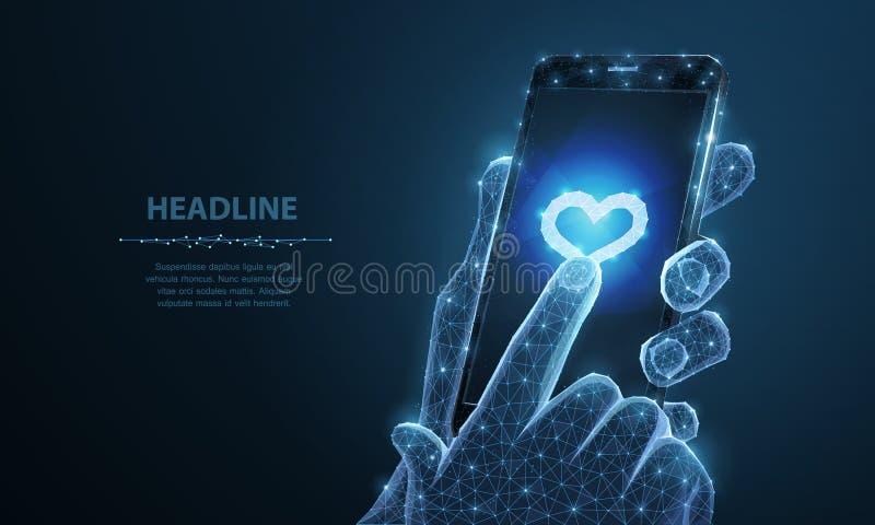 Abstrakte Vektor Illustration von Smartphoneherz-Ikone App Lokalisierter Hintergrund Valentinstag, die Romanze Liebe, mögen lizenzfreie abbildung