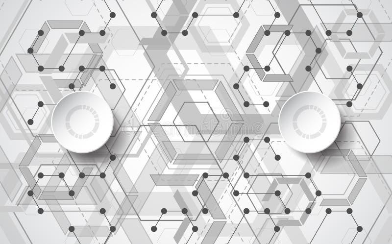 Abstrakte Vektor-Technologiehexagon-Artillustration und geometrischer Hintergrund vektor abbildung