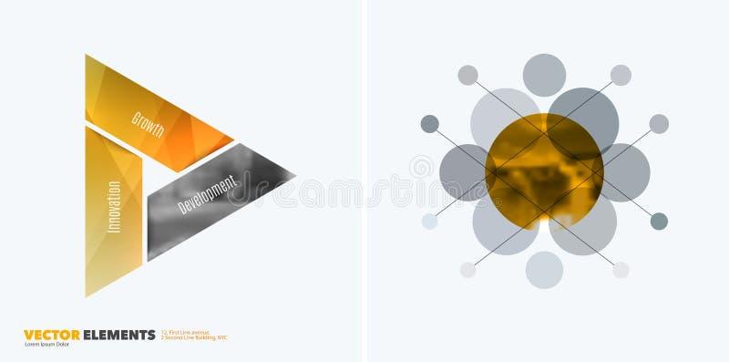 Abstrakte Vektorgestaltungselemente für grafischen Plan Moderne Geschäftshintergrundschablone mit bunten Dreiecken, vektor abbildung