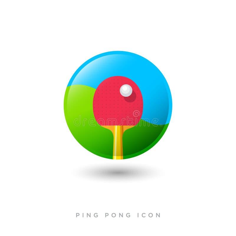 Abstrakte Vektorillustration Klingeln pong Ikone Sport Spiel Roter Schläger und ein Ballbild stock abbildung
