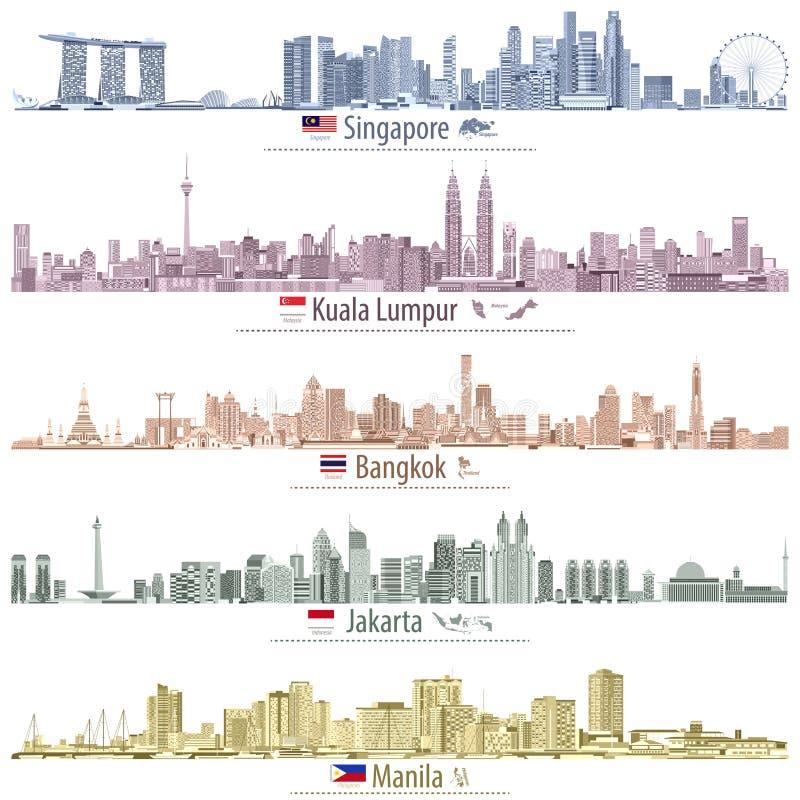 Abstrakte Vektorillustrationen von Singapur-, Kuala Lumpur-, Bangkok-, Jakarta- und Manila-Skylinen mit Karten und von Flaggen de vektor abbildung