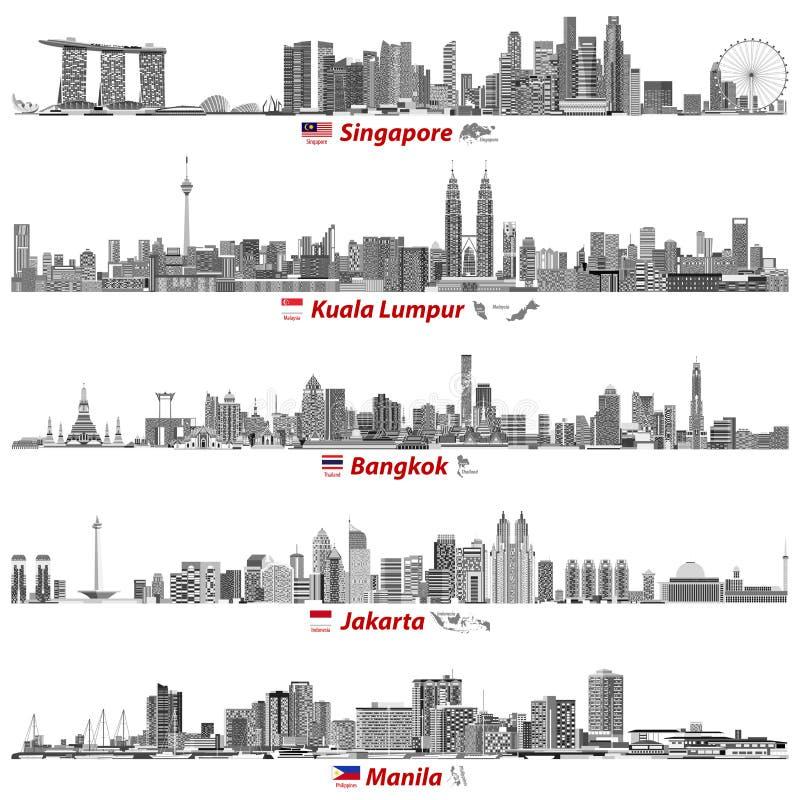 Abstrakte Vektorillustrationen von Singapur-, Kuala Lumpur-, Bangkok-, Jakarta- und Manila-Skylinen nachts mit Flaggen und Karten vektor abbildung