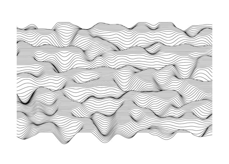 Abstrakte Vektoroberfläche Landschaft gemacht von den Linien Oberfläche gemacht von den Abschnitten lizenzfreie abbildung