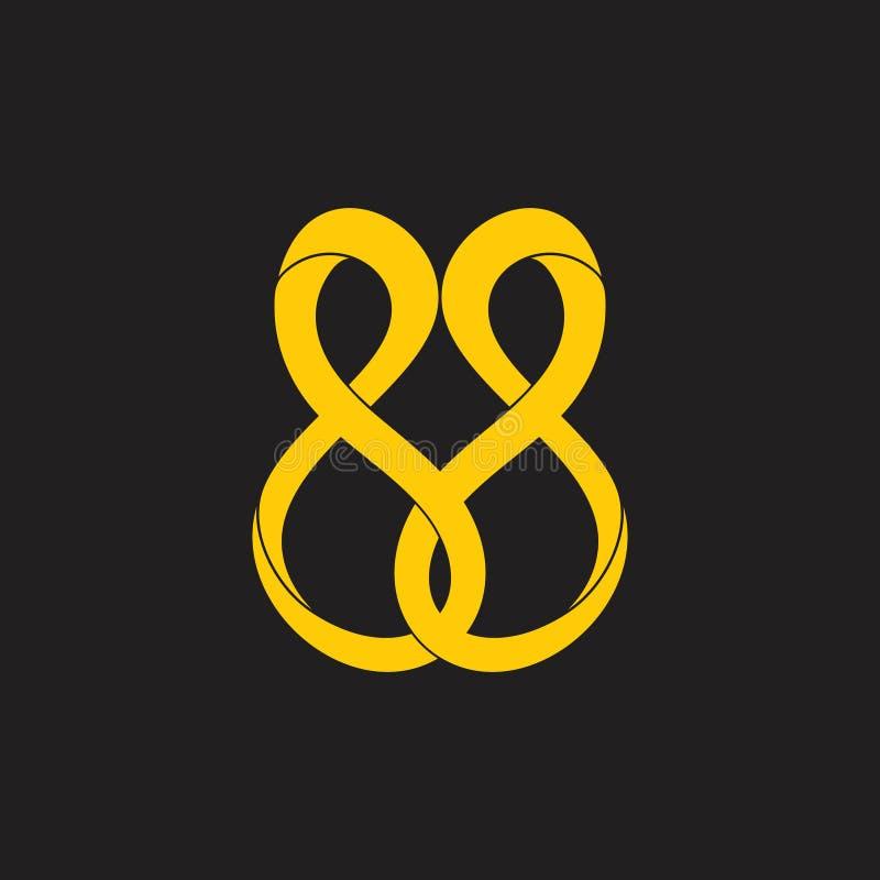 Abstrakte verbundene Unendlichkeit kurvt Entwurfs-Logovektor der Bewegung 3d lizenzfreie abbildung