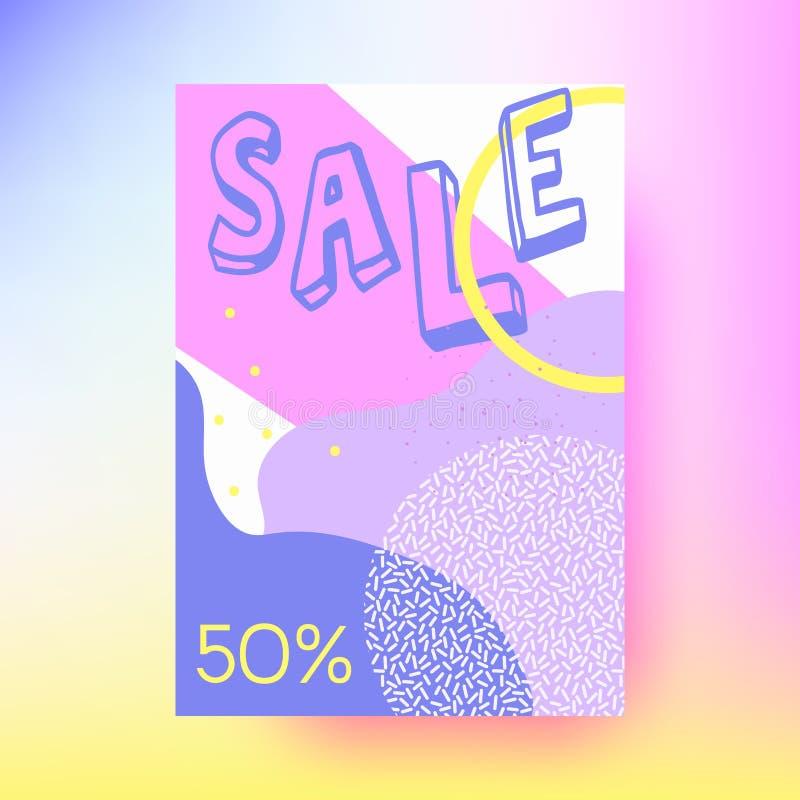 Abstrakte Verkaufsfahne, geometrischer Hintergrund Memphis-Art lizenzfreie abbildung