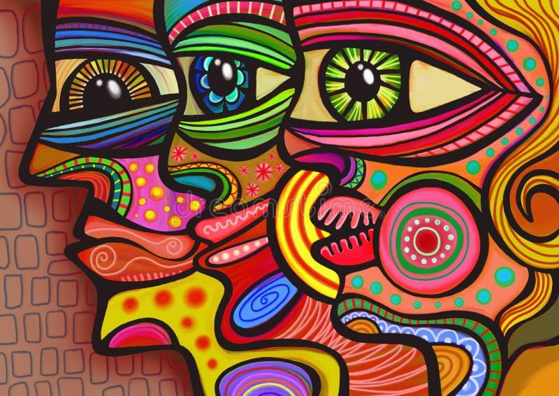 abstrakte verschiedene gesichter stock abbildung