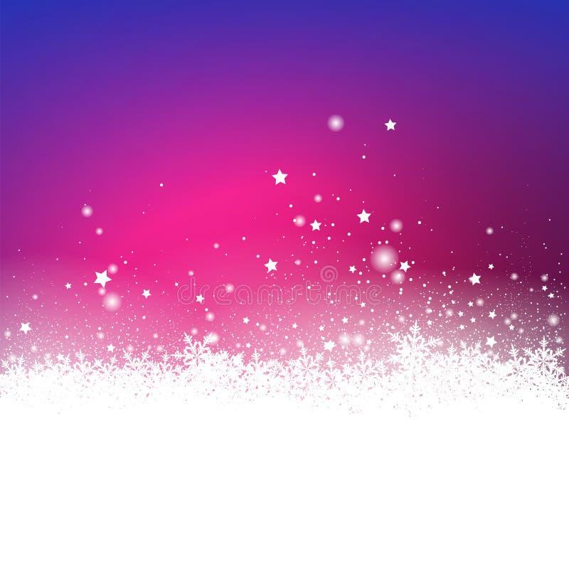 Abstrakte Violet Snow Particle- und Stern-Effekt-Ferienzeit GR lizenzfreie abbildung