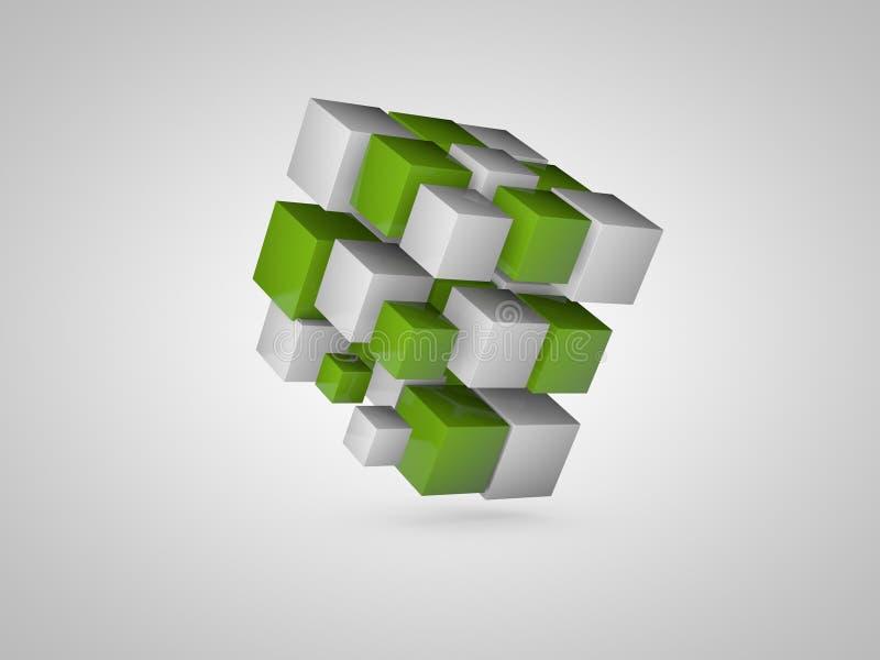 Abstrakte Würfel 3d Niedrige Illustration für Anzeigen! setzen Sie ein Bild Ihres Produktes lizenzfreie stockfotos