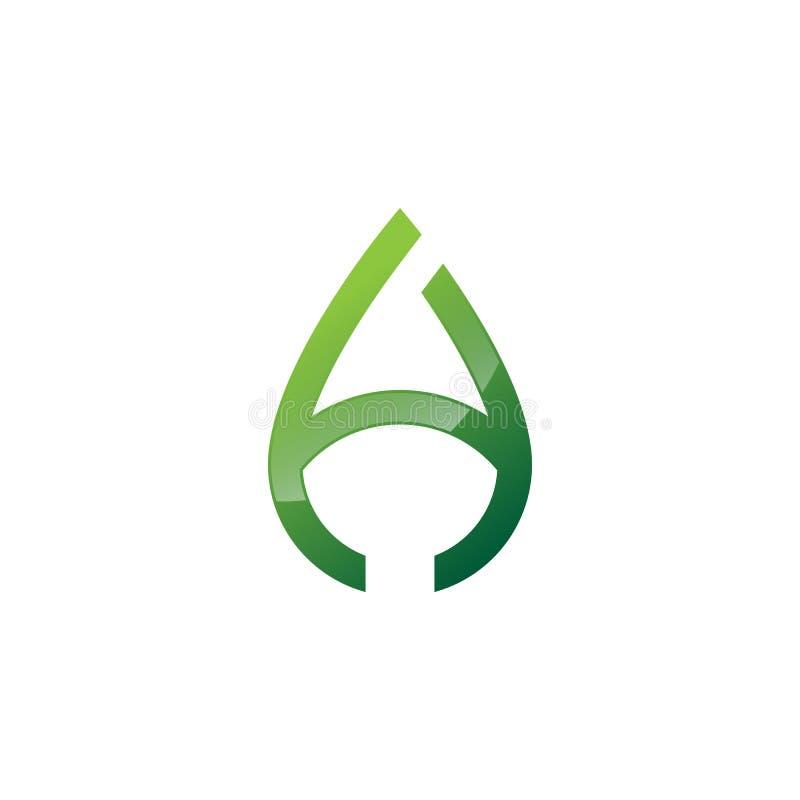 Abstrakte Wasser-Tropfenlinie des Buchstaben A einfaches Logovektorgrün vektor abbildung