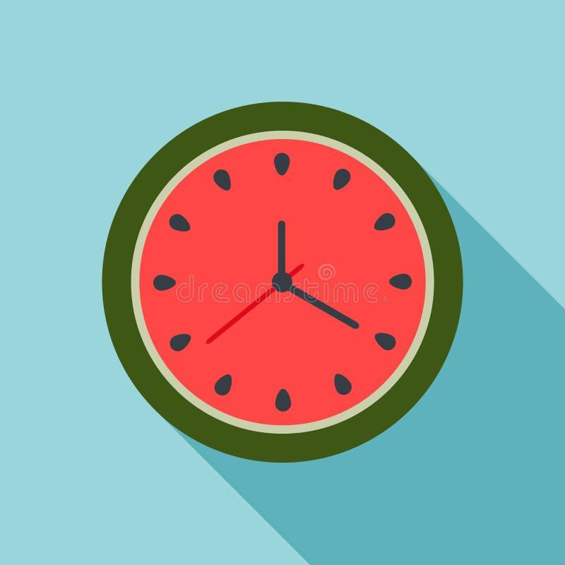 Abstrakte Wassermelonen-Uhr Palmen und Starfish, Vektor stock abbildung