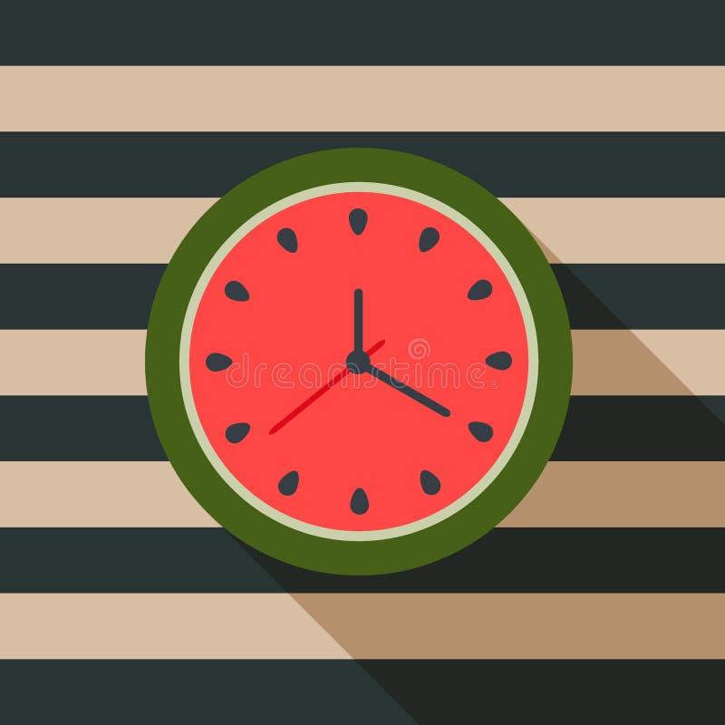 Abstrakte Wassermelonen-Uhr Palmen und Starfish, Vektor vektor abbildung