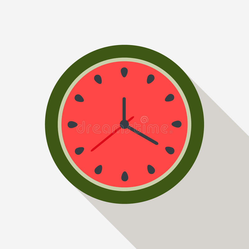 Abstrakte Wassermelonen-Uhr Palmen und Starfish, Vektor lizenzfreie abbildung