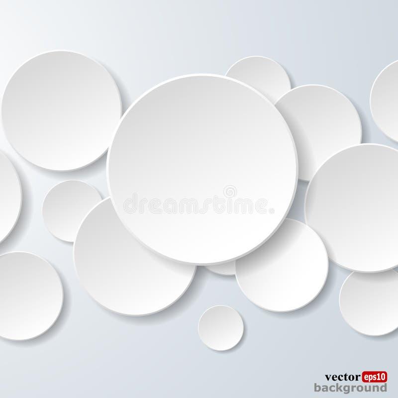 Abstrakte Weißbuchkreise auf hellblauem Hintergrund stock abbildung