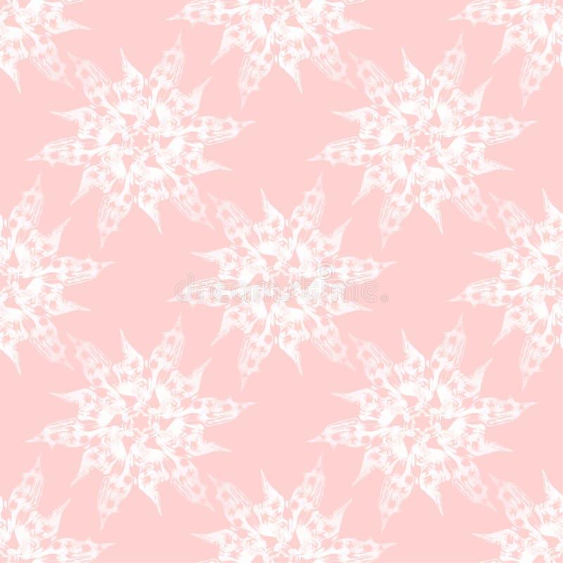 Abstrakte weiße Blüten auf rosa nahtlosem vektor abbildung