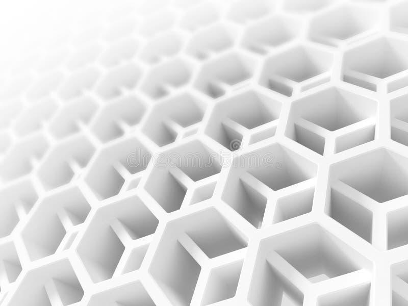 Abstrakte weiße doppelte Bienenwabenstruktur lizenzfreie abbildung
