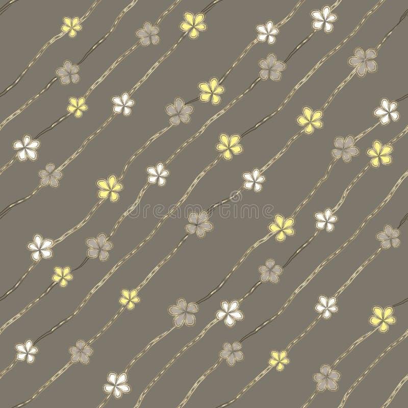 Abstrakte weiße, graue und gelbe Blumen wie Broschen- und Schmuckdiamantketten auf aschgrauem Hintergrund lizenzfreie abbildung