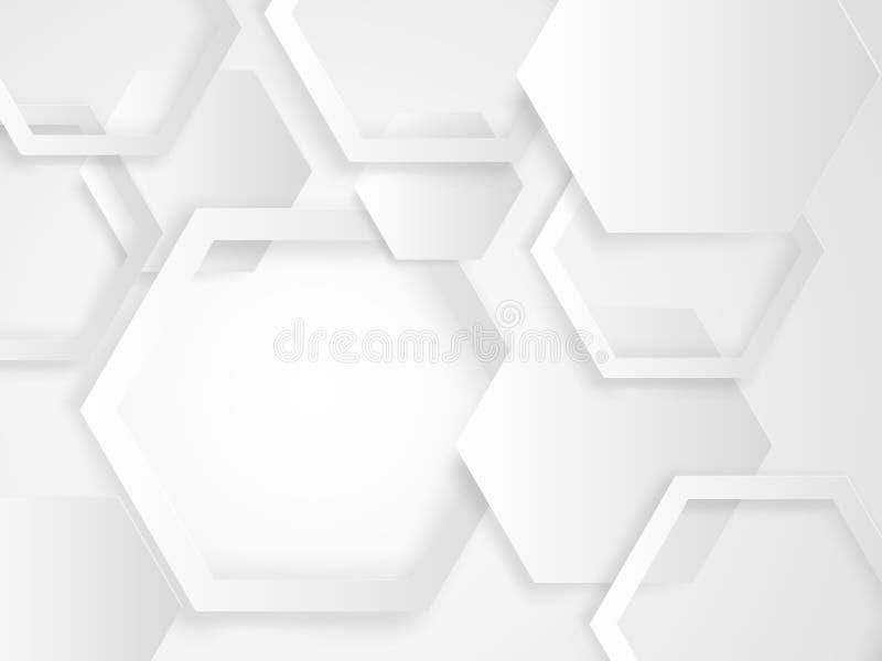 Abstrakte weiße und graue Hexagonhintergrundpapier-Schnittart vektor abbildung