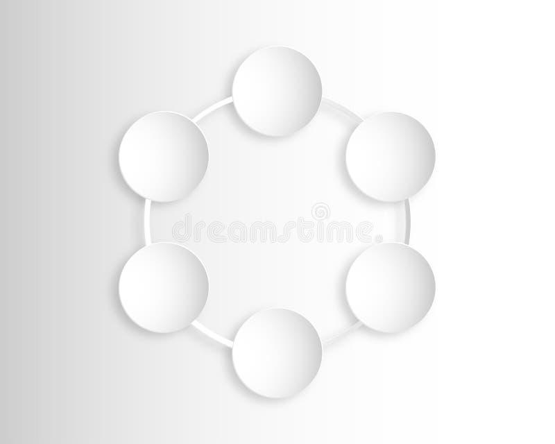 Abstrakte weiße und graue Kreishintergrundpapier-Schnittart stock abbildung