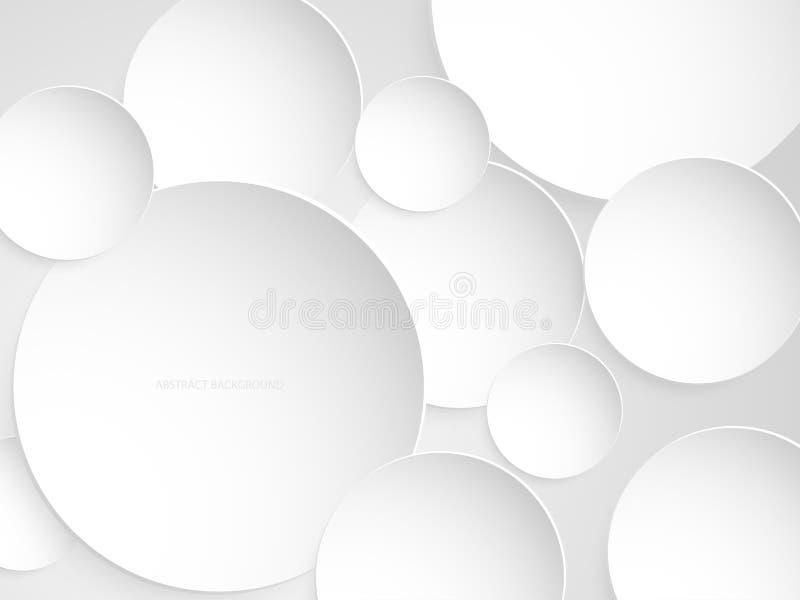 Abstrakte weiße und graue Kreishintergrundpapier-Schnittart lizenzfreie abbildung