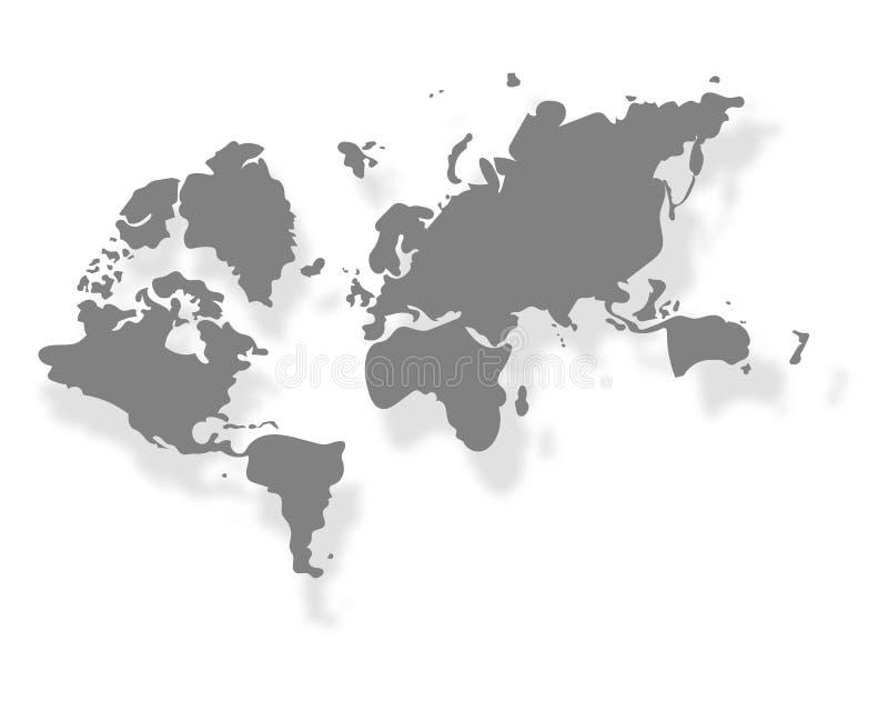 Abstrakte weiße Farbe zerknitterte Papier oder bereitet Papier für Hintergründe mit Weltkarte im schwarzen Ton auf vektor abbildung