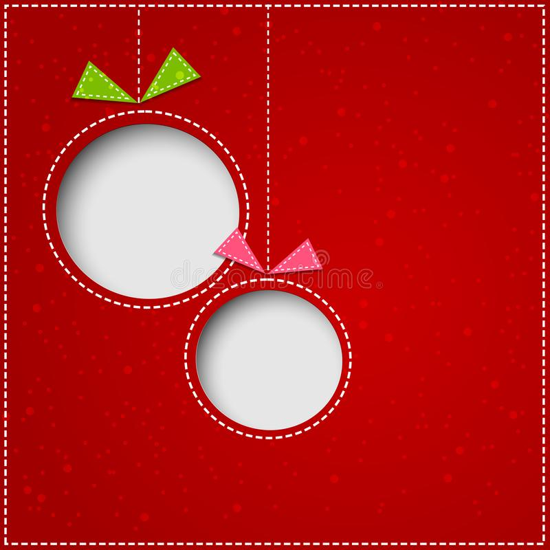 Abstrakte Weihnachtsbälle cutted vom Papier auf rotem Hintergrund stock abbildung