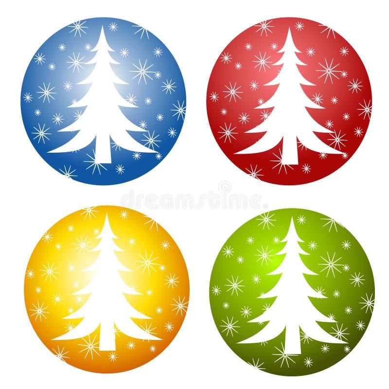 Abstrakte Weihnachtsbaum-Ikonen stock abbildung