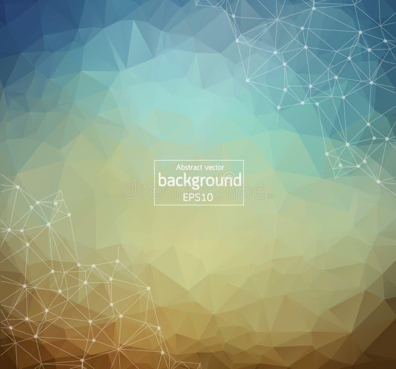Abstrakte Weinlese-polygonaler Raum-Hintergrund mit Verbindungspunkten und Linien Geometrisches polygonales Hintergrund Molekül u lizenzfreie abbildung