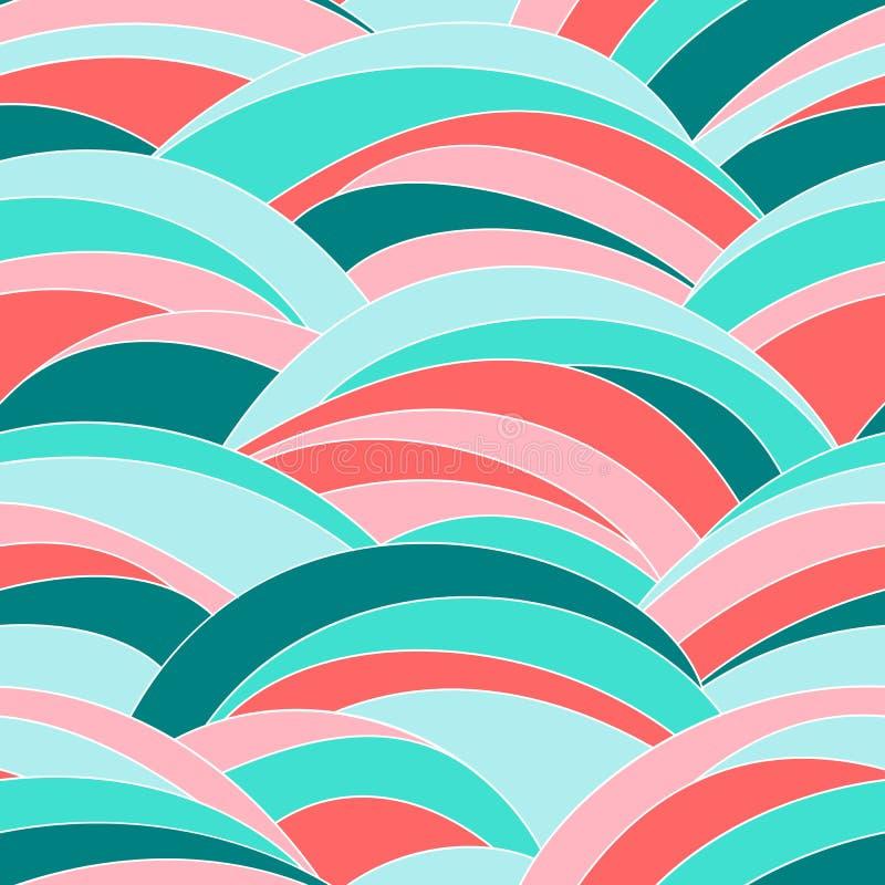 Abstrakte wellenförmige Beschaffenheit Nahtloses Muster bunt stock abbildung