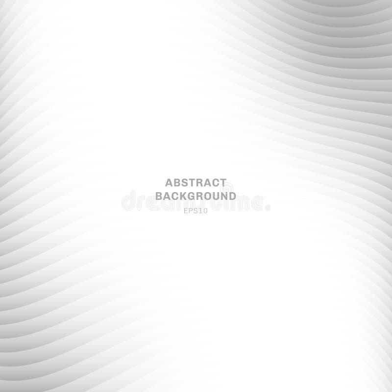 Abstrakte Wellenkurve streifte überlagerten weißen und grauen Steigungsfarbhintergrund auf weißem Hintergrund mit Kopienraum lizenzfreie abbildung