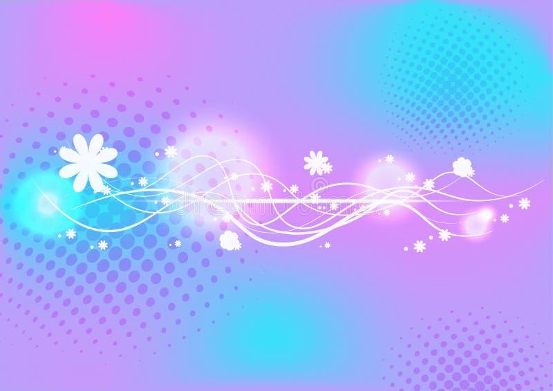 Abstrakte Wellenlinien- und -blumendesigne vector Hintergrund lizenzfreie abbildung