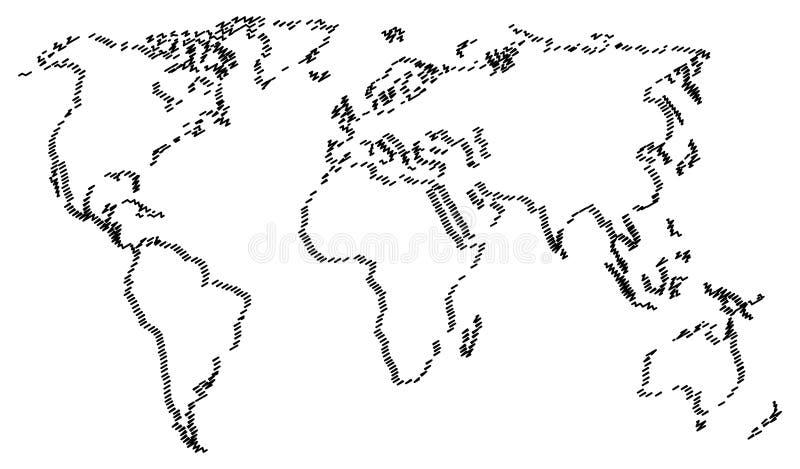 Abstrakte Weltkarte lokalisiert auf weißem Hintergrund vektor abbildung