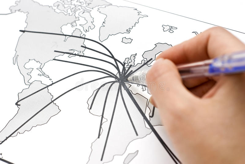 Abstrakte Weltkarte mit Kontinent stockfotos