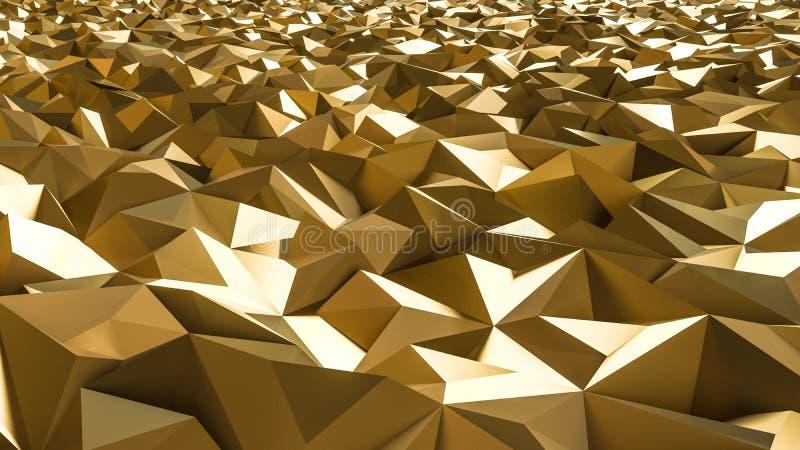 Abstrakte Wiedergabe 3d der Goldoberfläche Futuristischer Hintergrundesprit lizenzfreie abbildung