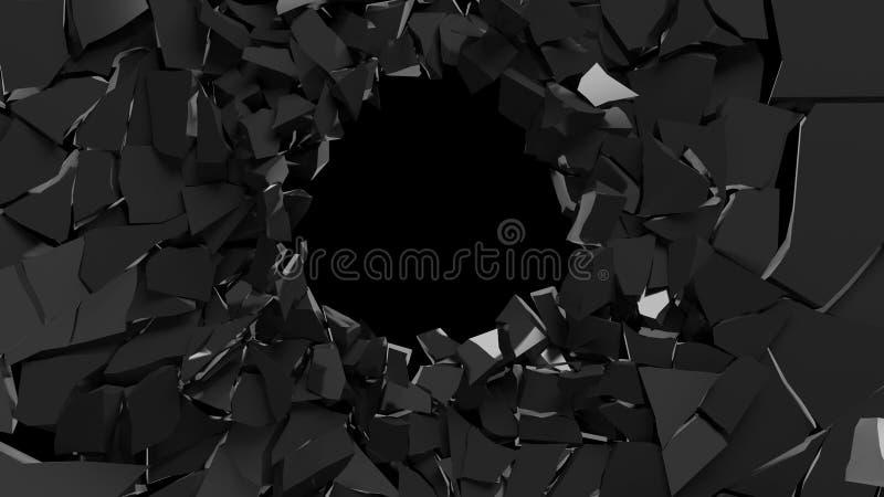 Abstrakte Wiedergabe 3d der zerbrochenen schwarzen Oberfläche zerstörtes wal vektor abbildung
